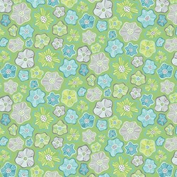 "End of Bolt - 78"" - - Green  Floral -Meadow Dance by Amanda Murphy for Benartex"